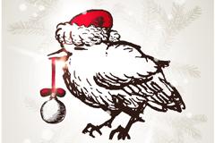 圣诞吊球小鸟矢量素材