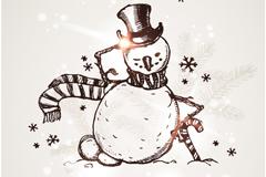 手绘圣诞雪人矢量素材
