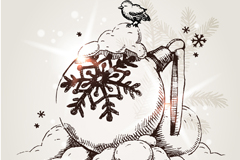 手绘圣诞吊球矢量素材