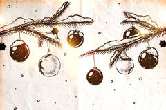 手绘圣诞挂球矢量素材