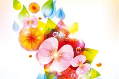 春季梦幻花朵背景矢量素材