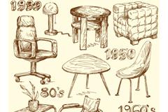 复古手绘家具设计矢量素材