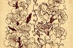 复古手绘花卉设计矢量素材