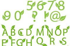 清新绿叶装饰字体矢量素材