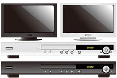 精美电视和DVD播放器矢量素材