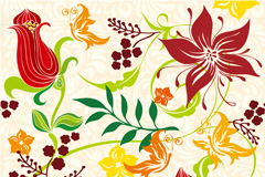 怀旧花卉设计矢量素材