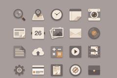 20个灰色系扁平化图标PSD素材