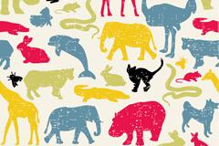 彩绘动物剪影矢量素材