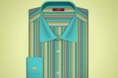彩绘条纹衬衫矢量素材
