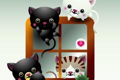 卡通爬窗猫咪矢量素材