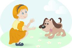 卡通女孩与宠物狗矢量素材
