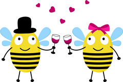 卡通蜜蜂情侣矢量素材