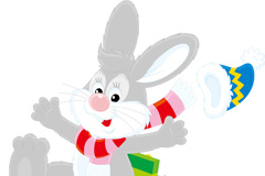 可爱滑雪兔子矢量素材