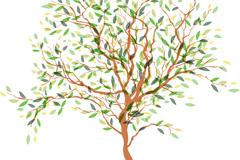 清新彩绘树木设计矢量素材