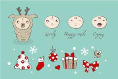 圣诞节麋鹿婴儿矢量素材