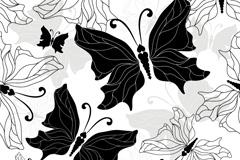黑白手绘蝴蝶矢量素材