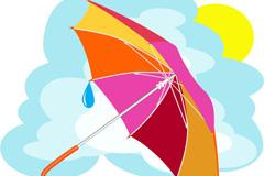卡通彩色雨伞矢量素材
