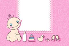 粉色婴儿卡片矢量素材