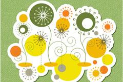 童趣圆形花卉背景矢量素材