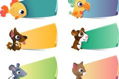 卡通动物标贴矢量素材