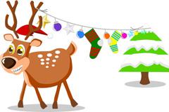 可爱卡通圣诞麋鹿矢量素材