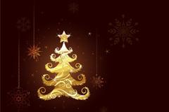 金色圣诞树背景矢量素材