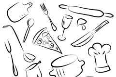 手绘厨具矢量素材