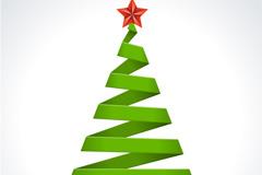 简洁丝带圣诞树矢量素材
