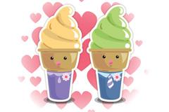 可爱冰淇淋插画矢量素材