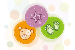 童趣熊头插画矢量素材