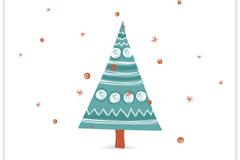 童趣圣诞树插画矢量素材