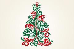 优雅花纹圣诞树矢量素材