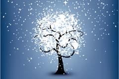 晶莹雪花树矢量素材