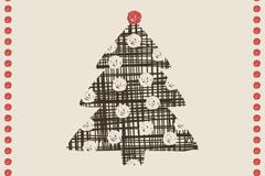 复古圣诞树插画矢量素材