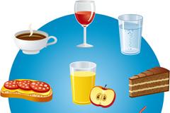 卡通零食饮品矢量素材