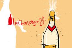 彩绘香槟酒矢量素材