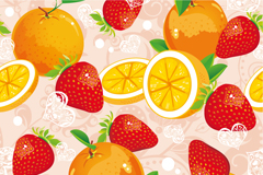 美味橙子草莓插画矢量素材
