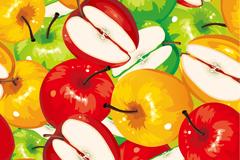 油画风格苹果矢量素材