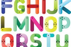 彩色拼接字母矢量素材