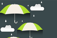 雨伞云朵矢量素材