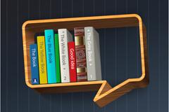 创意对话框书架矢量素材