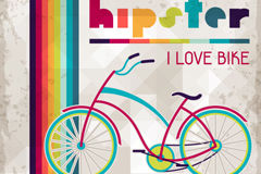彩绘自行车插画矢量素材