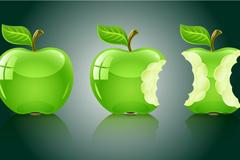 精美绿色苹果矢量素材