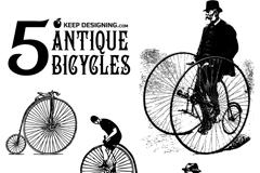 5款古董自行车矢量素材