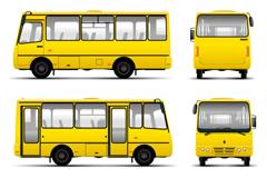 黄色客车矢量素材