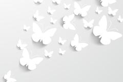 白色剪纸蝴蝶矢量素材