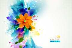 彩喷花卉背景矢量素材