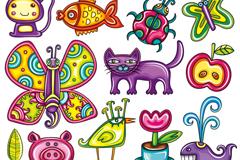 卡通彩绘动物矢量素材