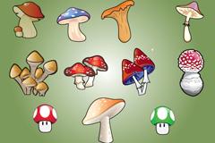 11种卡通蘑菇矢量素材