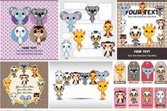 卡通动物卡片设计矢量素材